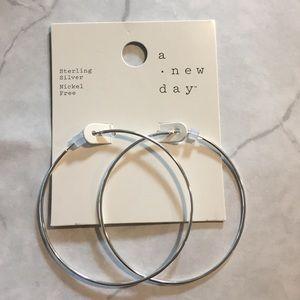 Large Sterling Silver Hoop Earrings